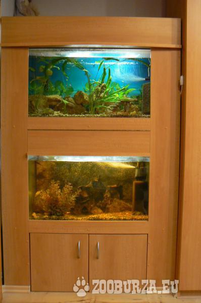 2 akváriá 40 x 100 x 45cm a 40 x 80 x 44cm